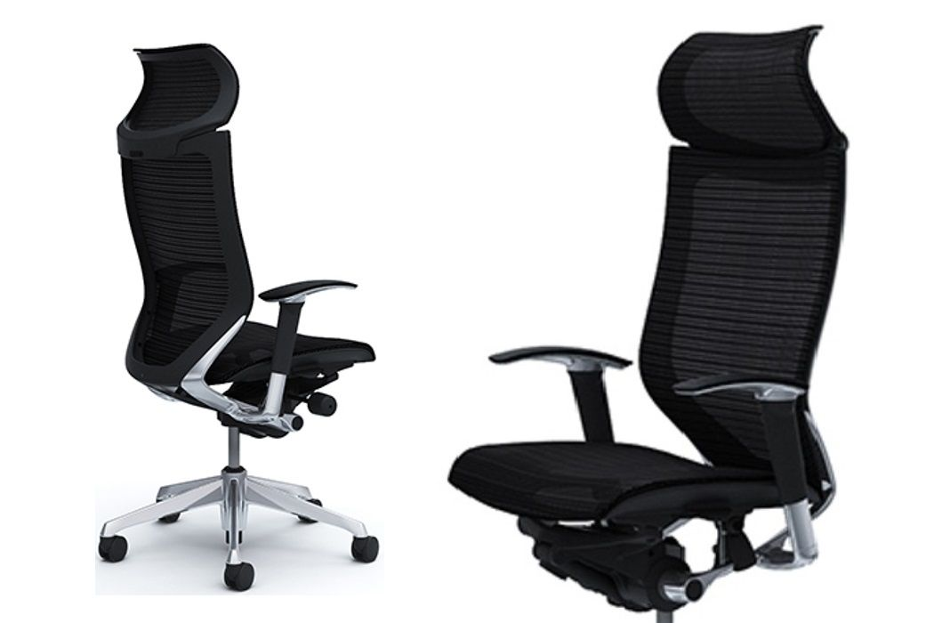 OKAMURA CP Polished Frame Black Mesh Chair
