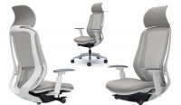 OKAMURA SYLPHY Grey Mesh White Body Chair with Headrest
